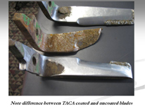 Note difference between TACA coated and uncoated blades